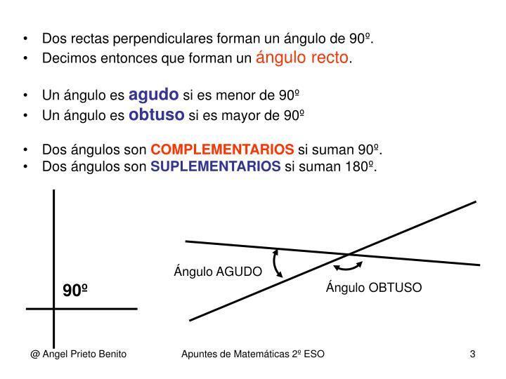 Dos rectas perpendiculares forman un ángulo de 90º.