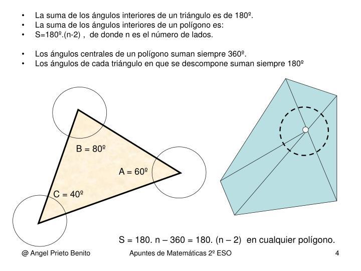 La suma de los ángulos interiores de un triángulo es de 180º.