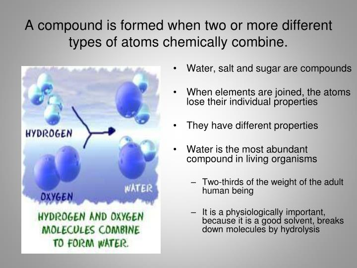 A compound is formed when two or more different types of atoms chemically combine.