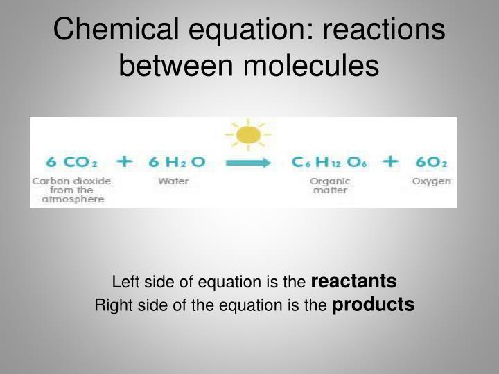 Chemical equation: reactions between molecules