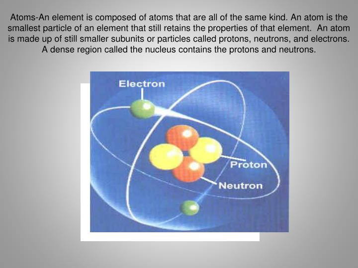 Atoms-An element is composed of atoms that are all of the same kind. An atom is the smallest particl...