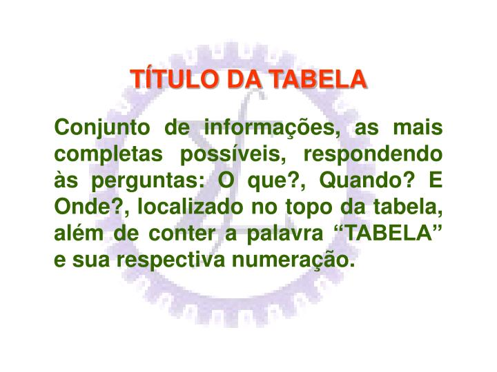 TÍTULO DA TABELA