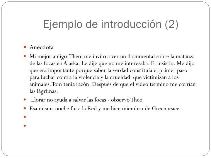 Ejemplo de introducción (2)