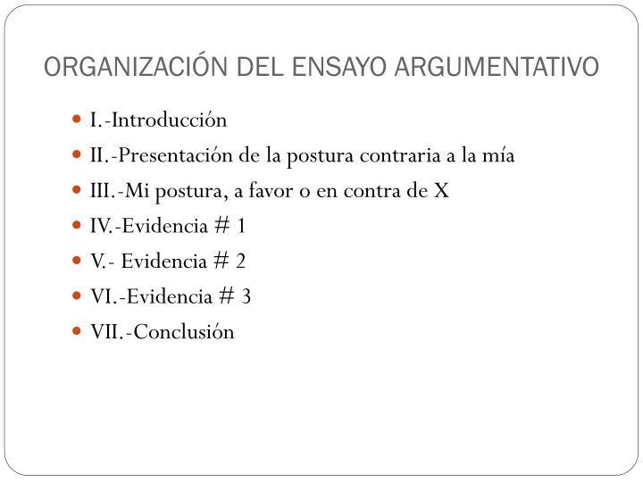 ORGANIZACIÓN DEL ENSAYO ARGUMENTATIVO