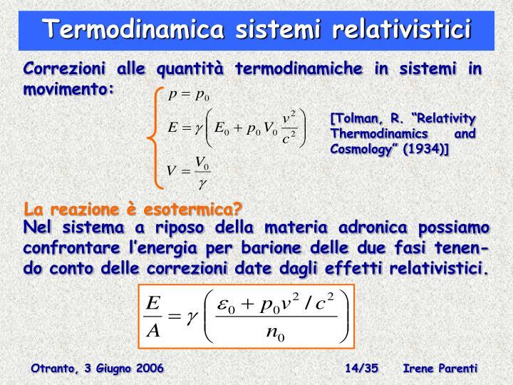Termodinamica sistemi relativistici