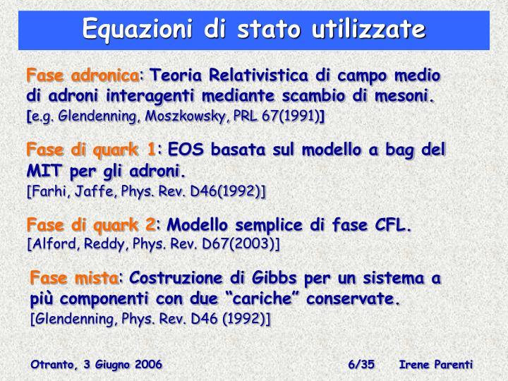 Equazioni di stato utilizzate