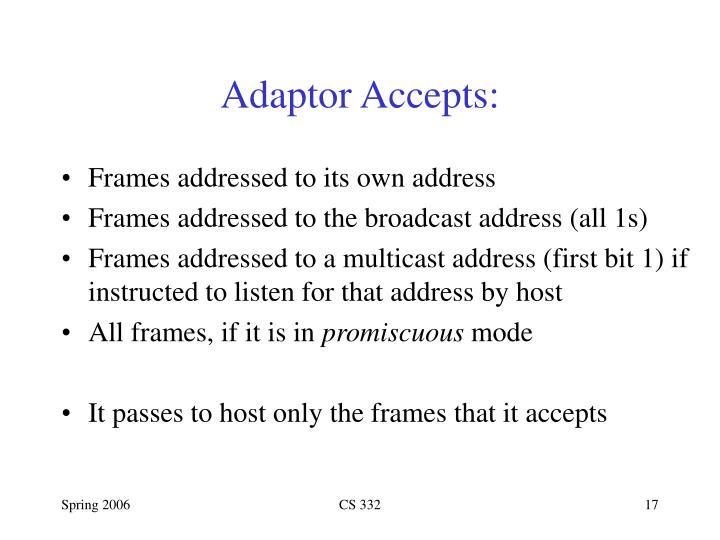 Adaptor Accepts: