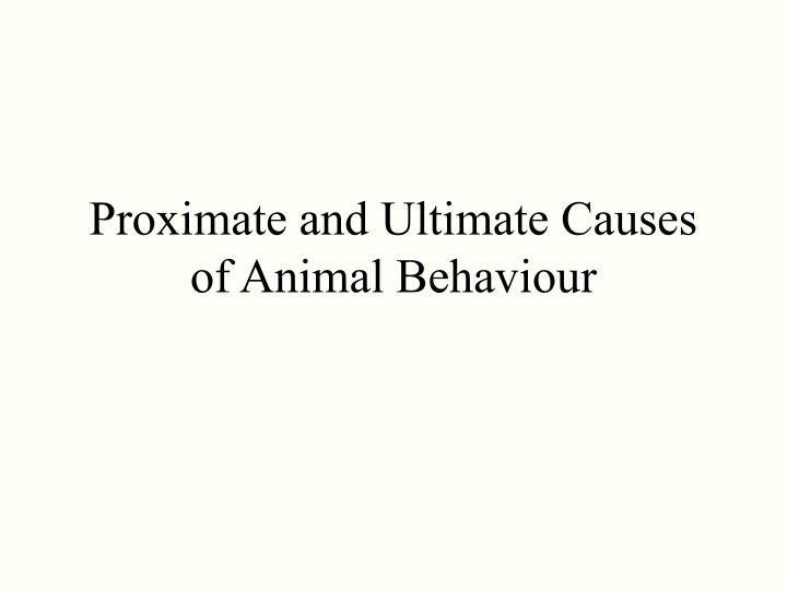 Proximate and ultimate causes of animal behaviour