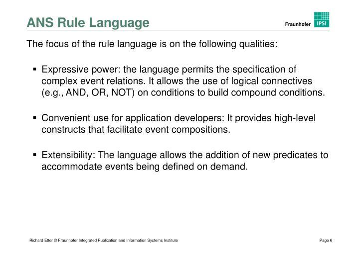 ANS Rule Language