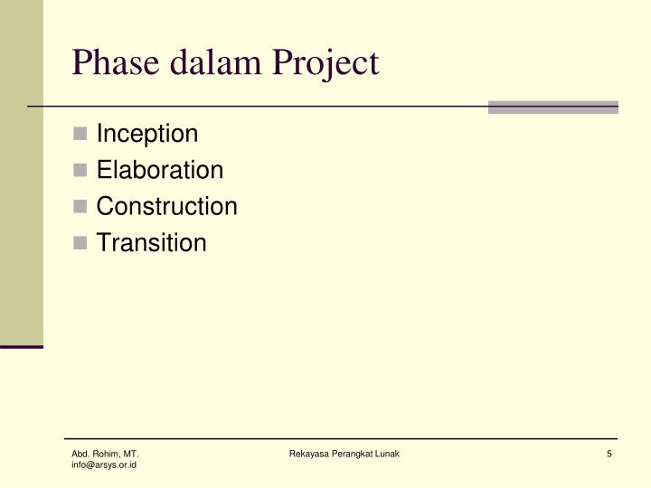 Phase dalam Project