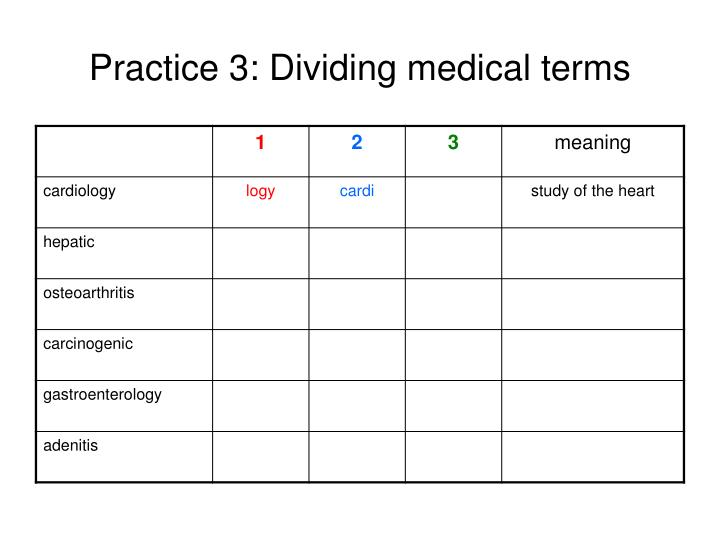 Practice 3: Dividing medical terms