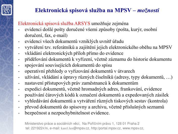 Elektronická spisová služba na MPSV –
