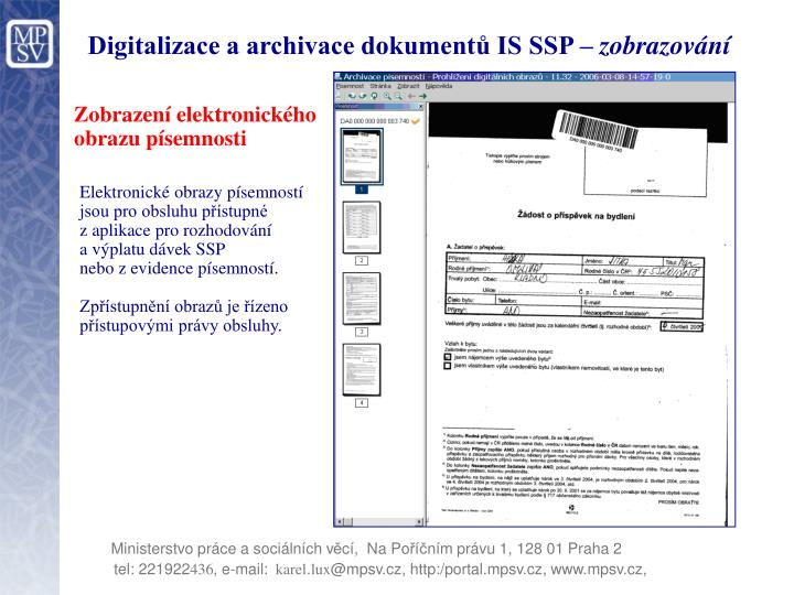 Digitalizace a archivace dokumentů IS SSP –