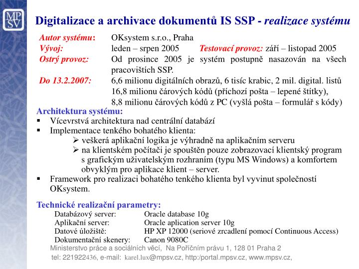 Digitalizace a archivace dokumentů IS SSP -