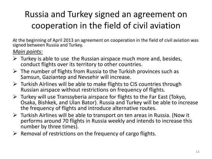 Russia and Turkey signed an agreement on cooperation in the field of civil aviation