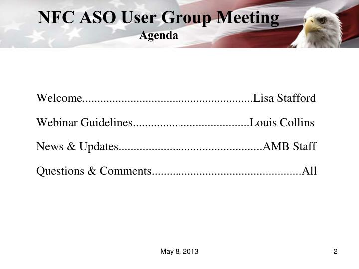 Nfc aso user group meeting agenda