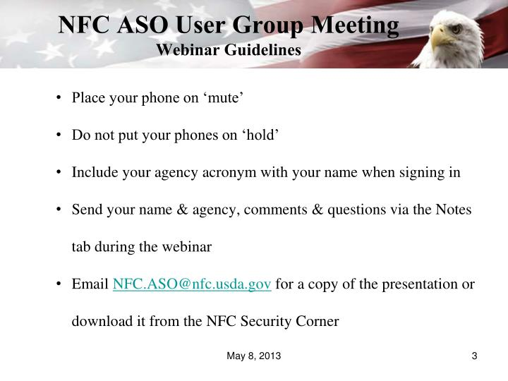 Nfc aso user group meeting webinar guidelines