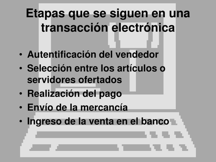 Etapas que se siguen en una transacción electrónica