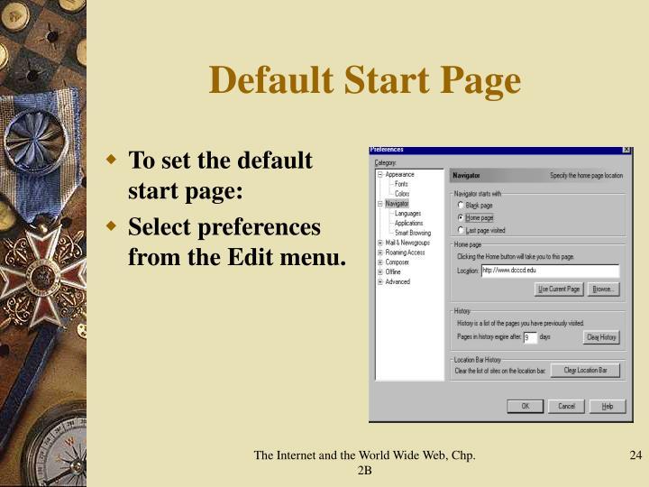Default Start Page
