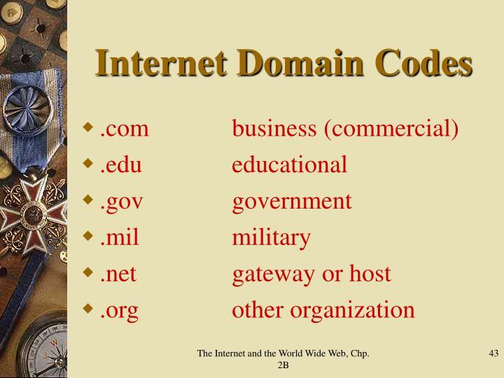 Internet Domain Codes