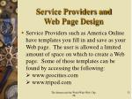 service providers and web page design