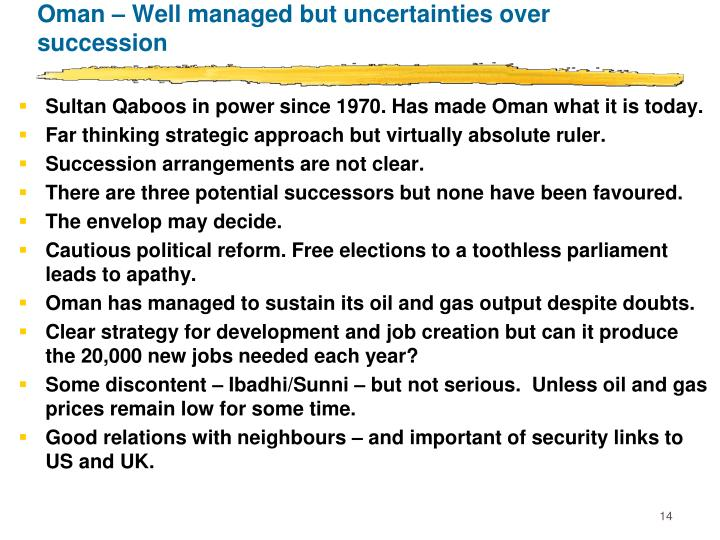 Oman – Well managed but uncertainties over succession