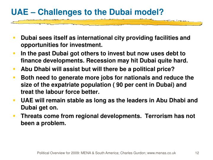 UAE – Challenges to the Dubai model?