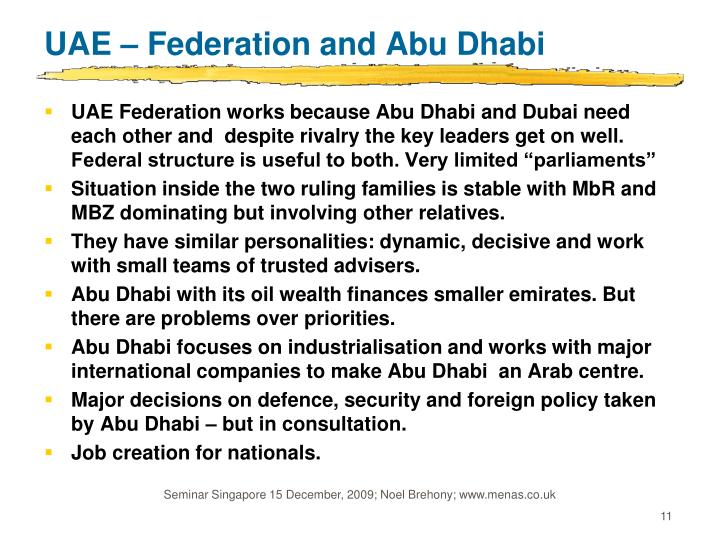 UAE – Federation and Abu Dhabi