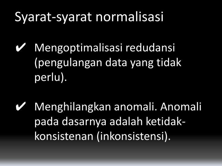 Syarat-syarat normalisasi