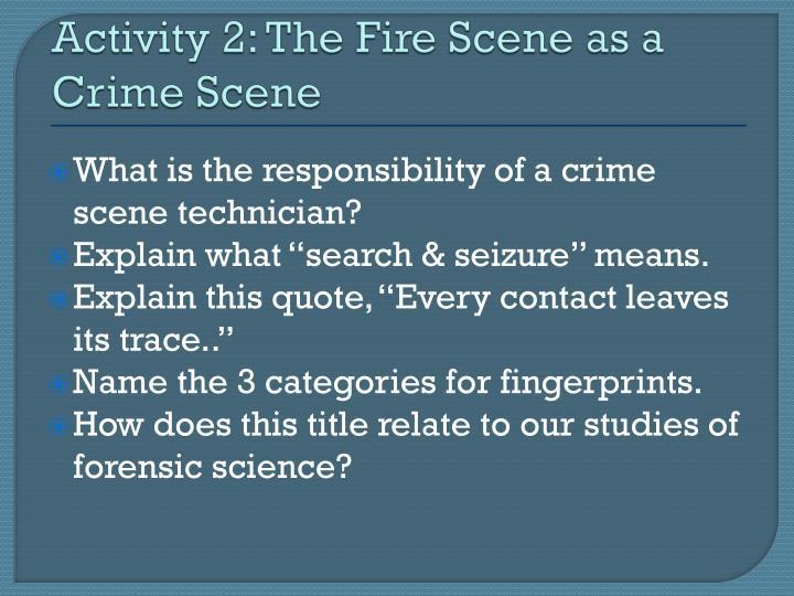 Activity 2: The Fire Scene as a Crime Scene