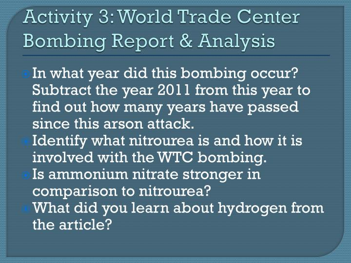 Activity 3: World Trade Center Bombing Report & Analysis