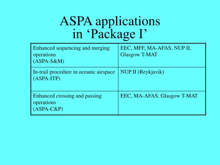 ASPA applications