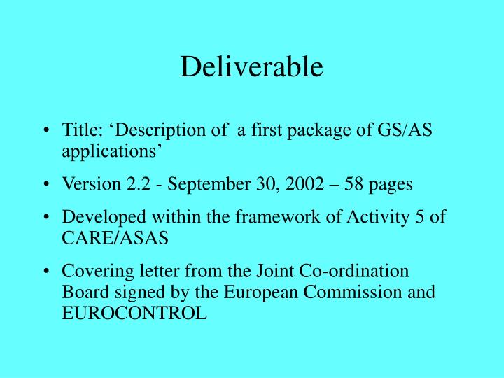 Deliverable