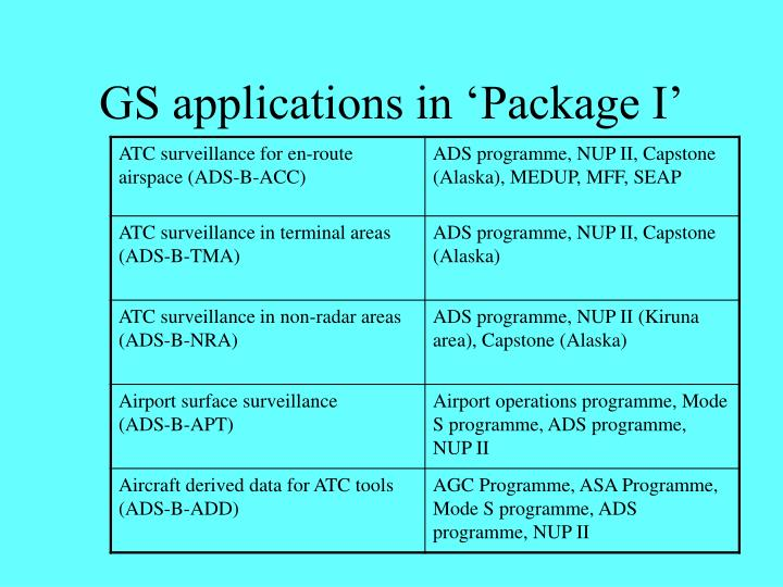 GS applications in 'Package I'