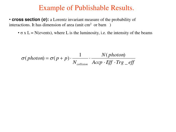Example of Publishable Results.
