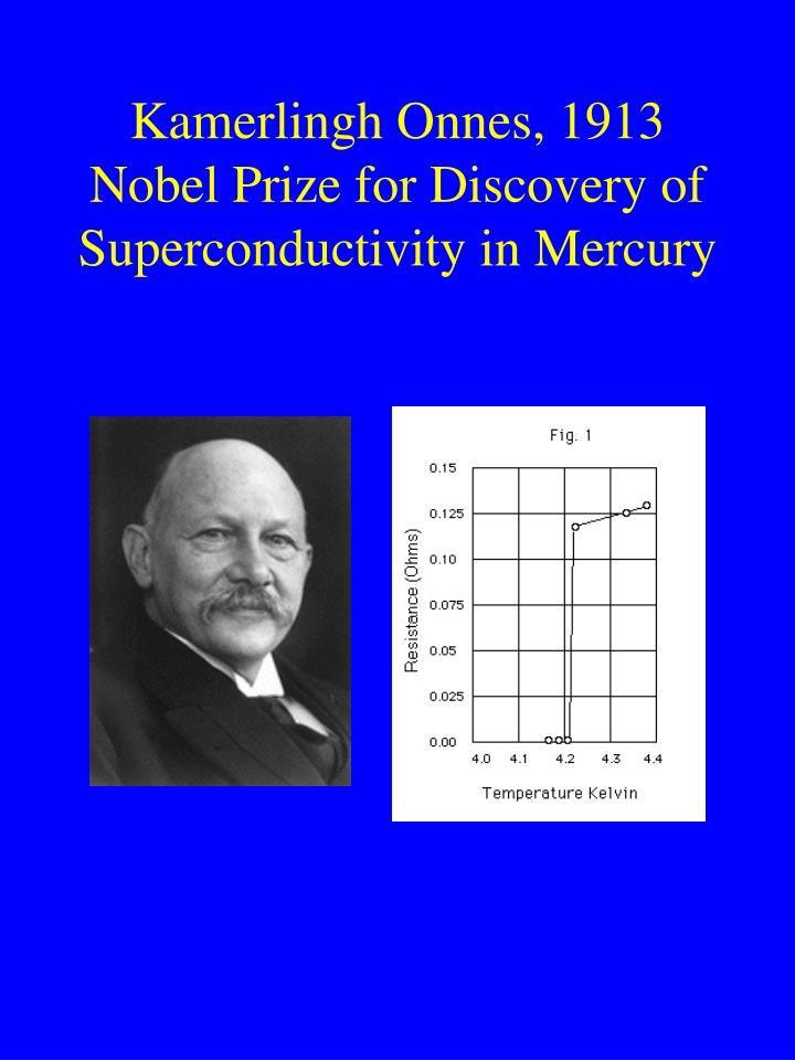Kamerlingh Onnes, 1913 Nobel Prize for Discovery of Superconductivity in Mercury