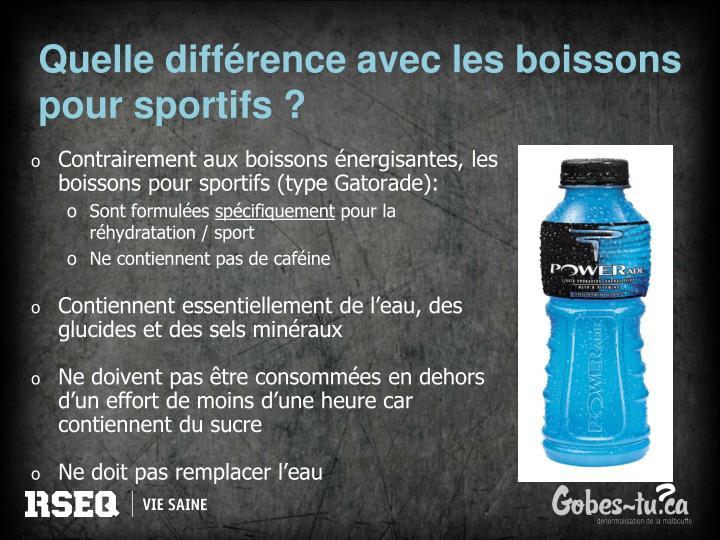 Quelle différence avec les boissons pour sportifs ?