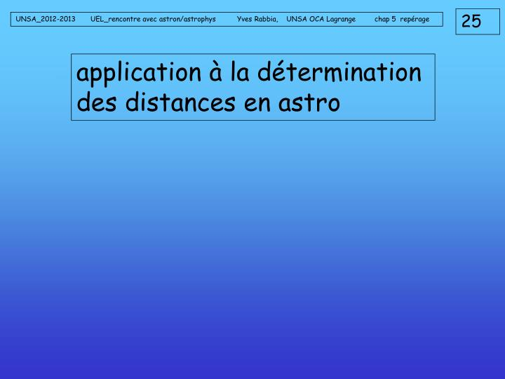 application à la détermination