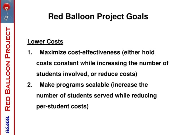 Red Balloon Project Goals