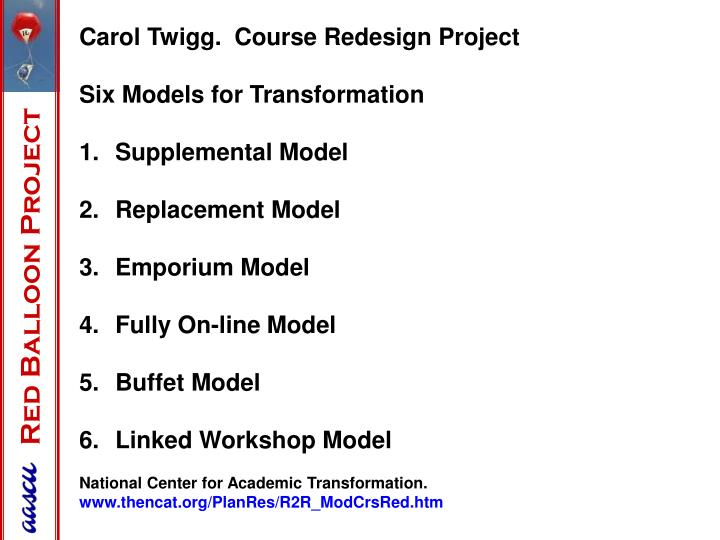 Carol Twigg.  Course Redesign Project