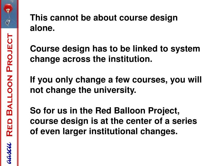 This cannot be about course design alone.
