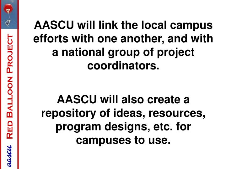 AASCU will link the local campus efforts with one another, and with a national group of project coordinators.