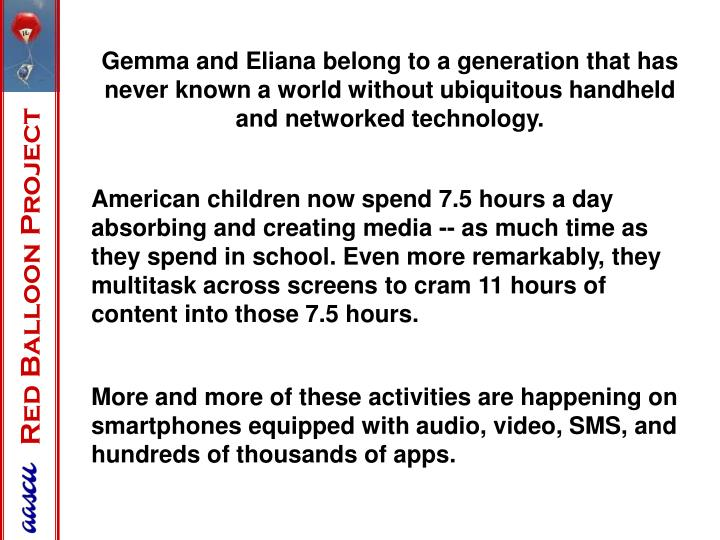Gemma and Eliana belong to a generation that has never known a world without ubiquitous handheld and networked technology.