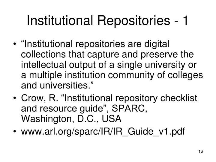 Institutional Repositories - 1