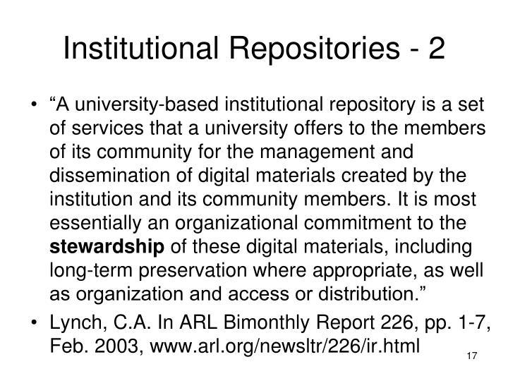 Institutional Repositories - 2