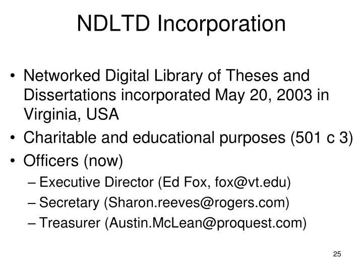 NDLTD Incorporation