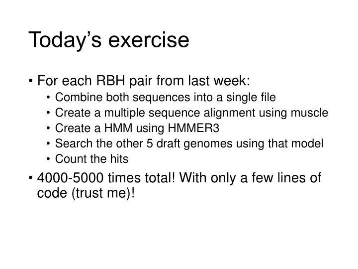 Today's exercise