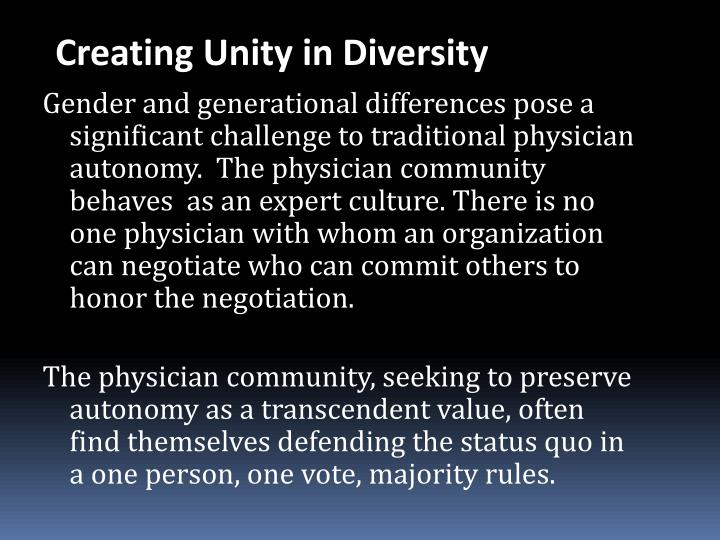 Creating Unity in Diversity