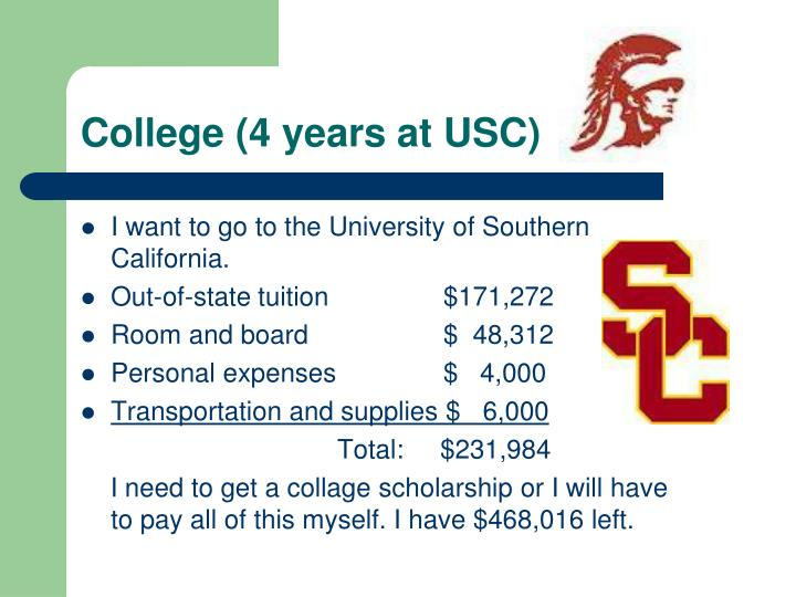 College (4 years at USC)