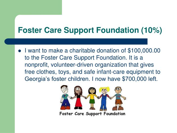 Foster Care Support Foundation (10%)